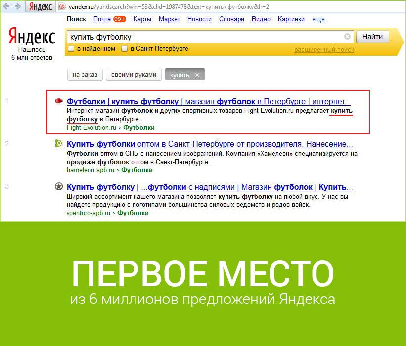 Продвижение сайта на первое место в Яндекс